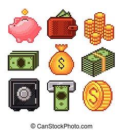 dinheiro, vetorial, jogo, pixel, ícones