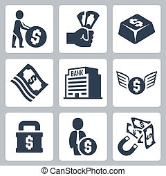 dinheiro, vetorial, jogo, relatado, ícones
