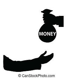 dinheiro, vetorial, mão