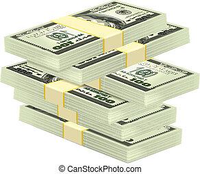 dinheiro, vetorial, pilha