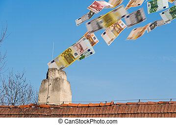 dinheiro voa, cima, chaminé, euro