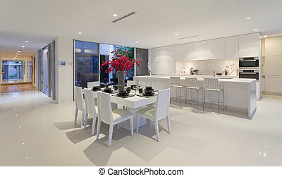 Dining area and kitchen in stunning Australian home