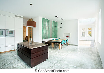 Dining area connected with kitchen