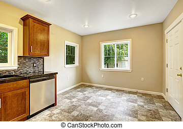Dining area in empty kitchen room