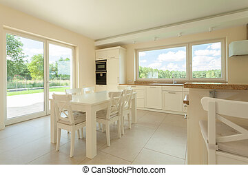 Dining area in modern kitchen
