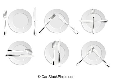Dining etiquette, forks and knifes signals. Vector EPS10...