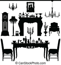 A scenario or interior design of a dining area with important objects and furniture.
