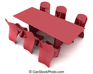 Dining furniture - Red Dining table and chairs isolated on...