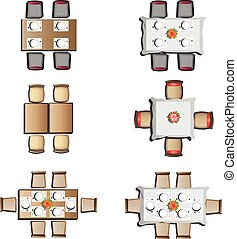 Dining furniture top view set1 - Dining furniture top view ...
