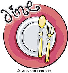 Dining Icon - Illustration of a Plate, Spoon, and Fork...