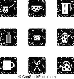Dining items icons set, grunge style