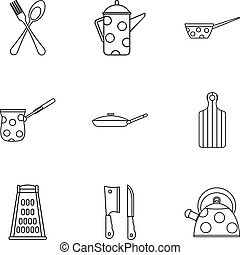 Dining items icons set, outline style