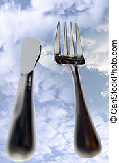 dining out knife and fork isolated in clouds - fork isolated...