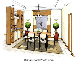 Dining Room - An artist\\\'s simple sketch of an interior...