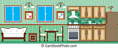 Dining room and kitchen - Vector illustration. It is created...