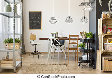 Dining room area with dining table