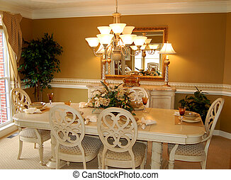 beautifully decorated dining room in a luxury model home