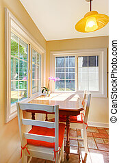 Dining room breakfast area in a small kitchen.