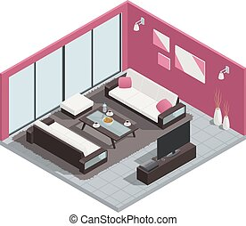 Dining Room Composition - Dining room isometric composition ...