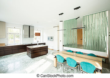 Dining room connected with kitchen