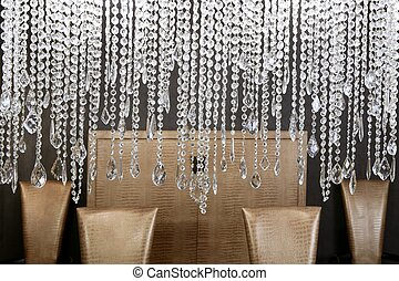 dining room crystal lamp golden chairs - dining room modern...