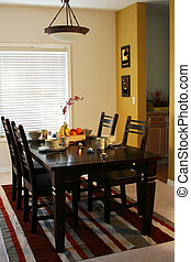 Dining room - Dining table and plates on a dining table (...