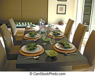 Dining table with chairs, modern asian design