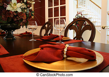 Elegant table setting in formal dining room