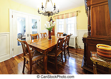 Dining room furniture - Dining room interior with wooden...