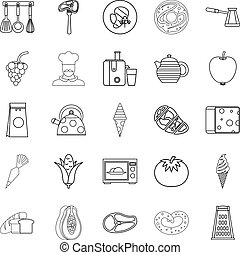 Dining room icons set, outline style