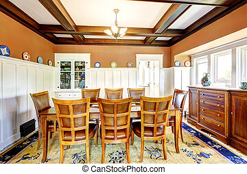Dining room in brown and white colors