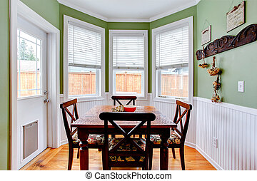 Dining room in light mint colo