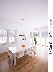 Dining room in minimalism style - Modern white dining room ...