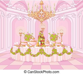 Dining Room in Princess Palace - Served dining table in the...