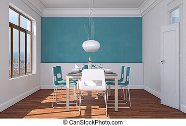 Dining room interior design with blue wall