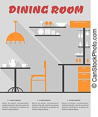 Dining room interior in flat style