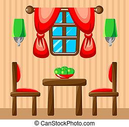 Charming ... Dining Room Interior. Vector Illustration