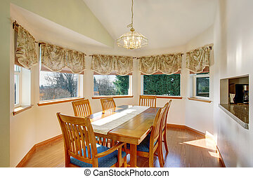 Dining room interior with wooden table set