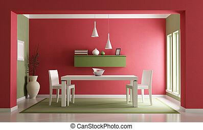 Dining room - Elegant red ang green dining room-rendering
