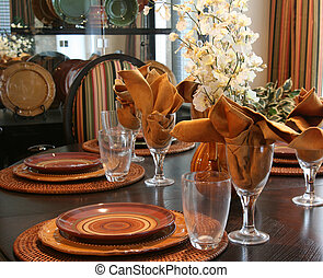 Thanksgiving. - Dining room table elegantly set for...
