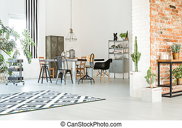 Dining room with brick wall - Cosy and light dining room ...