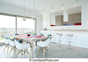 Dining room with color elements - Modern dining room...