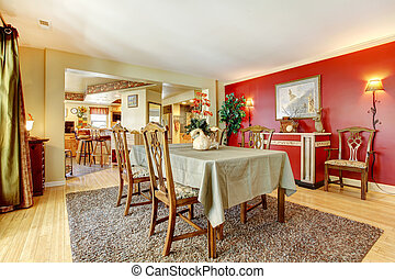 Dining room with contrast walls