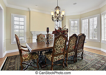 Dining room with cream colored walls - Dining room with...