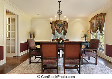 Dining room with cream colored walls - Dining room in luxury...