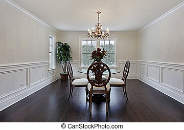 Dining room in luxury home with dark wood flooring