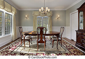 Dining room with decorative rug