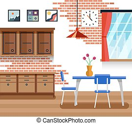 Dining Room With Furniture In Flat Vector Style