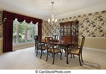 Traditional dining room with leaded glass buffet
