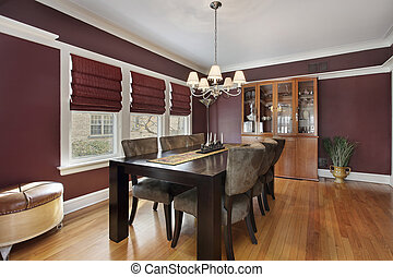 Dining room with maroon walls